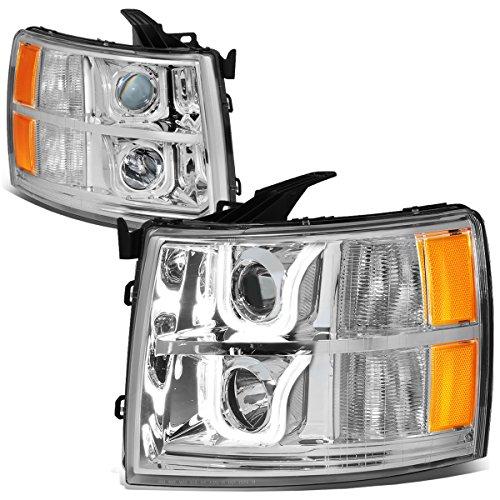 - For Chevy Silverado GMT900 Pair of Chrome Housing Amber Corner Dual LED U-Halo Projector Headlight