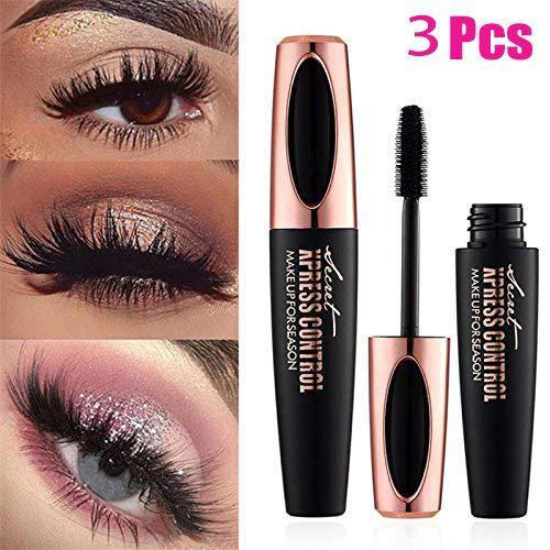 4D Silk Fiber Mascara Mascara Extended Makeup Black Waterproof Set Eyelashes, Extra Long Mascara and Thick, Long Lasting, 3PC
