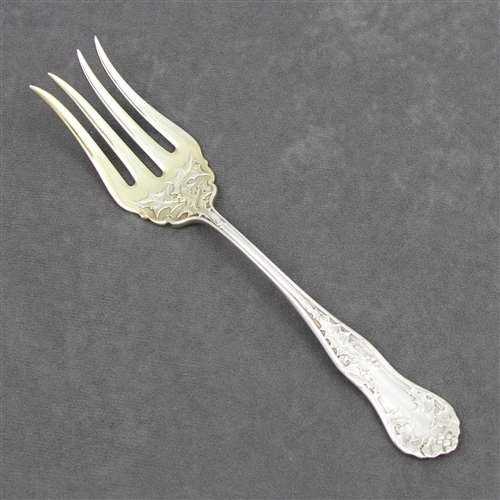 - Holly by E.H.H. Smith, Silverplate Cold Meat Fork, Gilt Tines