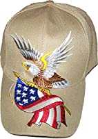 Tan Patriotic Baseball Cap American Flag Bald Eagle Hat Red White and Blue