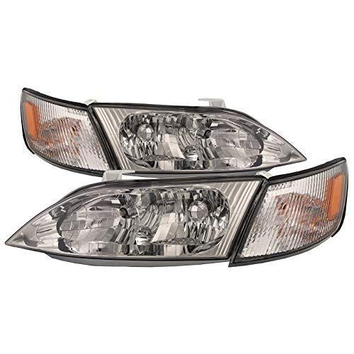 Lexus Es300 - HEADLIGHTSDEPOT Headlights w/Corner Lights w/Chrome Housing and Performance Lens Compatible with Lexus ES300 1997-2001 Includes 4pc Set Left Driver Right Passenger Pair