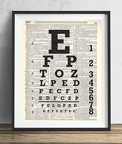 Eye Chart Upcycled Dictionary Art Print 8x10 Chart Dictionary