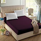 4U LIFE Bedding Fitted sheet-Prime 1800 Series, Double Brushed Microfiber,Ultra-soft Feel And Wrinkle,Fade Free, Deep Pocket For Oversized Mattress (Full, Eggplant purple)