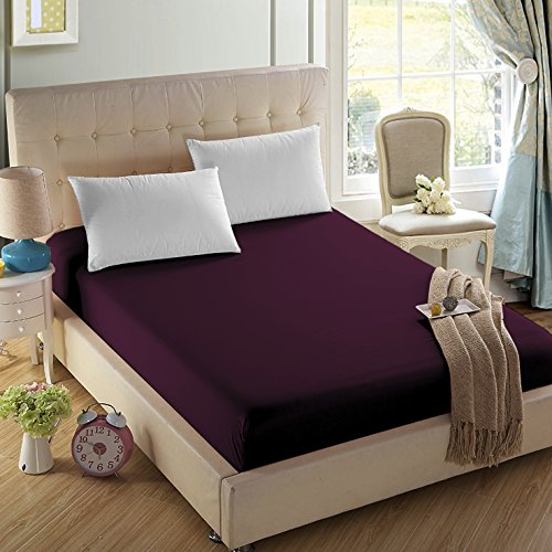 4U LIFE Bedding Fitted sheet-Prime 1800 Series, Double Brushed Microfiber,Ultra-soft Feel And Wrinkle,Fade Free, Deep Pocket For Oversized Mattress (Full, Eggplant purple) by 4U LIFE