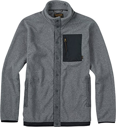 Burton Men's Hearth Snap-Up Fleece Jacket, Dark Ash Heather, Medium
