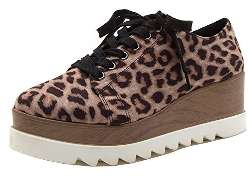 Qupid Womens Lace-up Plate-forme En Bois Flatform Wedge Mode Sneaker Oxford Chaussure Léopard