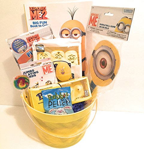 Despicable Me Easter Holiday Gift Basket or Birthday Basket - Coloring Book, Paddle Ball, Play & Go Pack,Candy,Playing Cards - 10 pieces
