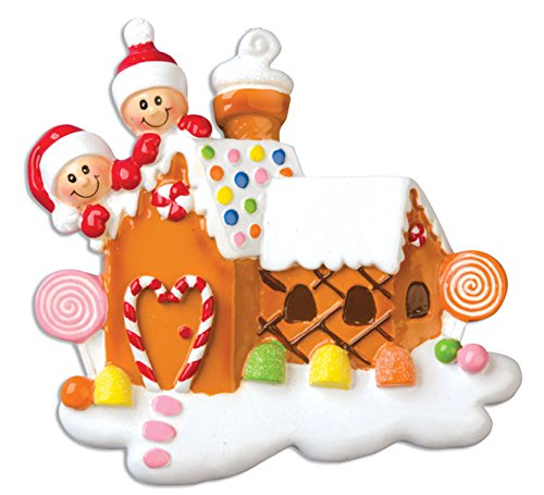 PERSONALIZED CHRISTMAS ORNAMENTS FAMILY SERIES-GINGERBREAD HOUSE WITH ()