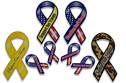 Novel Merk Support Our Troops Patriotic Military Car Magnets Set Includes 4 Large and 4 Mini Ribbons in Yellow Camouflage and American US Flag Designs for a Total of 8 Magnets