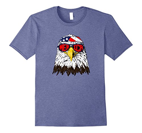 Mens On Sale - Funny Patriotic Merica Bald Eagle Shirt Large Heather - Bald Sunglasses Man