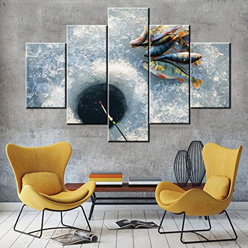 TUMOVO Multi Panel Wall Art Winter Fishing Pictures Many Fishes Paintings for Living Room Prints on Canvas Landscape Artwork Giclee House Decor Stretched and Framed Ready to Hang Gift(60''W x 40''H)