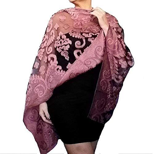Plus Size Mauve Wedding Shawl Sheer Black Dusty Rose Wrap By ZiiCi