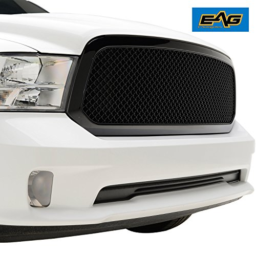 EAG 13-18 Dodge Ram 1500 Wire Mesh Grille ABS Replacement Glossy Black