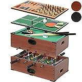 Jago Spieltisch/Tischfussball Billard, Tischtennis, Backgammon und Schach - 5in1 - in Schwarz / in Buche (Buche)