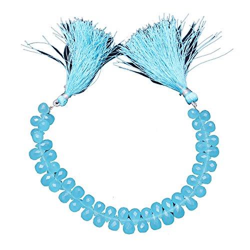Elegantjewels 1 Strand Natural Aqua Chalcedony Gemstone Briolette Drop 9x6mm Beads 8