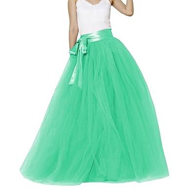 eb7bd774bf6 Dydsz Women s Long Tutu Tulle Skirt Floor Length for Wedding Prom Fomal  Skirts D211 Aqua S