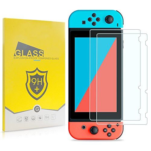 Nintendo Switch Screen Protector  Tjs  Tempered Glass   2 Piece   Works While Docking    0 3Mm Thickness Bubble Free Ultra Clear 9H Hardness Anti Scratch Shatterproof Anti Fingerprint