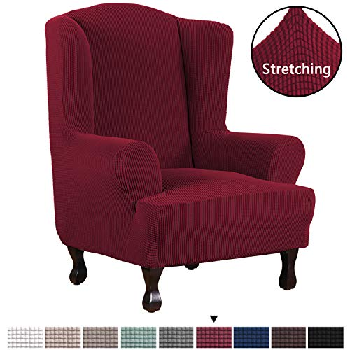 H.VERSAILTEX Durable Soft High Stretch Jacquard 1 Piece Wingback Chair Cover Burgundy Red Couch Covers Lycra Furniture Protector Machine Washable Spandex Sofa Covers, Wing Chair Slipcover