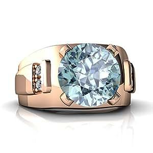 14kt Rose Gold Aquamarine and Diamond 9mm Round Men's Ring - Size 7