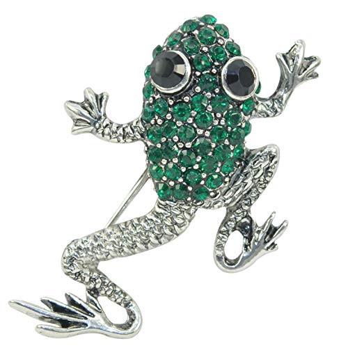 Gyn&Joy Silvery Tone Emerald Green Colored Rhinestones Animal Frog Toad Pin Brooch BZ251 (Green)