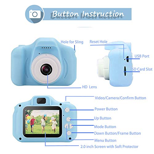 Digital Camera for Kids,hyleton 1080P FHD Kids Digital Video Camera with 2 Inch IPS Screen and 32GB SD Card for 3-10 Years Boys Girls Gift (Light Blue)