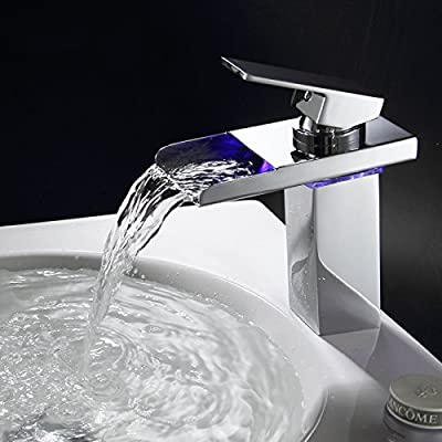 Modern bathroom basin faucet Copper LED color-changing light tap hydropower water waterfall faucet