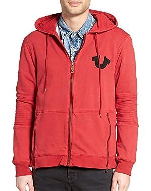 Men's Moto Full Zip Hoodie Sweatshirt, Graffiti Red