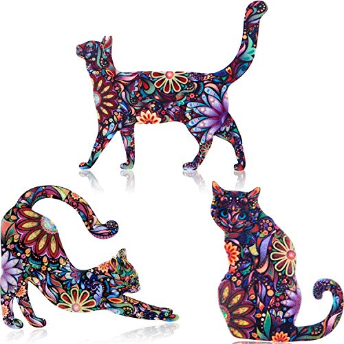 WILLBOND 9 Pieces Acrylic Cat Brooch Pin Cute Animal Pattern Lapel Pin Badges Accessory