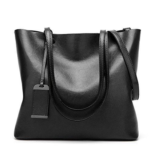 BBPPDD Tote Handbag Womens Shoulder Bag Casual Signature Printing Pu Leather Tote (Black)