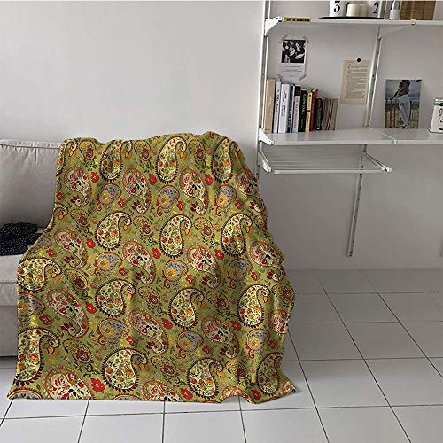 - Khaki home Children's Blanket Beach Soft Blanket Microfiber (50 by 60 Inch,Paisley Decor,Eastern and Persian Oriental Style Tulip Floral Textile Pattern,Green Red Cream and Paprika
