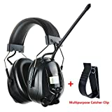 Protear Radio Safety Earmuffs Audio Tough Sound Electronic Noise Reduction Ear Defenders Hearing Protector for Woodworking Mowing Ear Protection Headphones- AM/FM Radio- Phone/MP3 Stereo Jack-NRR 25dB