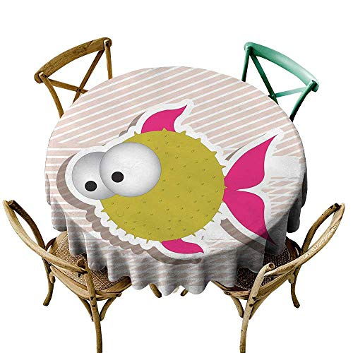 Wendell Joshua Purple Tablecloth 54 inch Fish,Comical Illustration of a Bubble Fish Abstract Blowfish with Huge Eyes,Fuchsia Gold Pearl White Indoor/Outdoor Spillproof Table Cloth