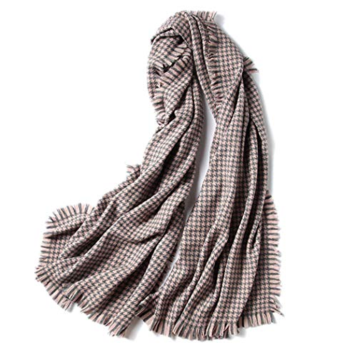 AXIANQI Black and White Houndstooth Thick Long Ladies Shawl Autumn and Winter Pure Wool Scarf Dual-use 60200CM (Color : Brown, Size : 90200CM) ()