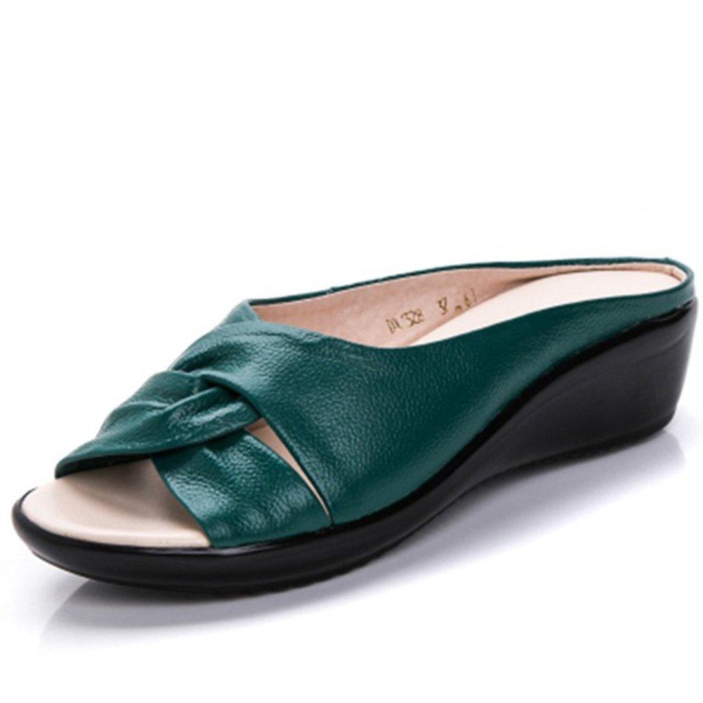 Vicグレーレディーススライドサンダル – ファッションソフトウェッジヒール快適靴 B07D2VNLJ5  グリーン 8.5