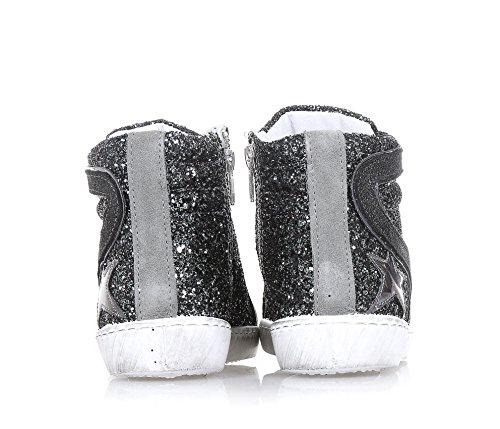 BYBLOS - Silberner Schuh mit Schnürsenkeln, aus Glitzern und Wildleder, seitlich ein Reißverschluss, Logo auf der Zunge, Mädchen, Damen