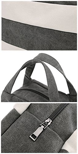 Canvas Women's Casual Daily Shopping Packages Handbag Hobo Purse Bag Daily Stripes Bag Travel Black Vintage xwSrtxUq1