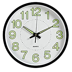 Fasmov Night Light Function Wall Clock with Silent Non-Ticking Night Lights Glow in The Dark 12 inch