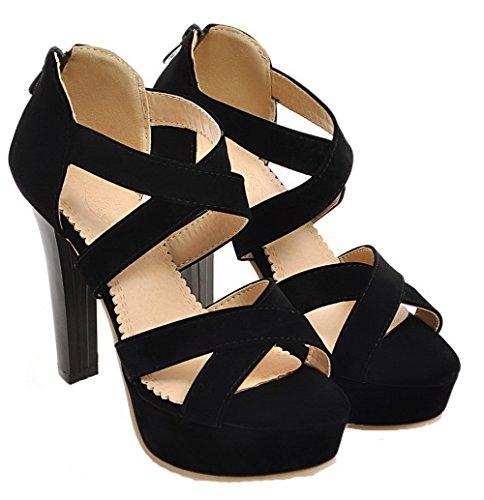 Solid Sandals High Frosted Toe Open Black Heels Women Zipper VogueZone009 Txq048n