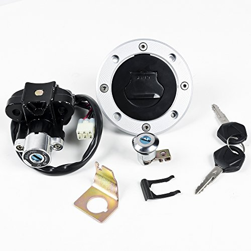 Black/ Silver Aluminum Fuel Tank Cap + Ignition Switch + Seat Lock + Keys Kit For YAMAHA FJR1300 01-05 YZF R1 07-11 YZF R6 2004 06-11 FZ6 04-10 by Astra Depot
