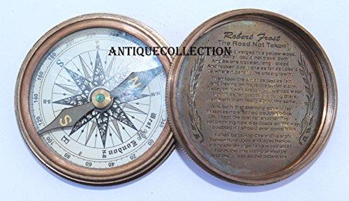 antiquecollection Nauticalアンティーク真鍮ロバート?フロスト詩コンパス