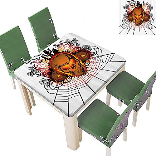 Printsonne Polyester Table Cloth Kull ce Bfire Effect Spirits of Other World Ccept Bats and Spider Web Halloween Table 23 x 23 Inch