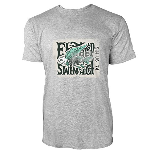 SINUS ART® Fliegender Fisch – Fly Deep Swim High Herren T-Shirts in hellgrau Fun Shirt mit tollen Aufdruck