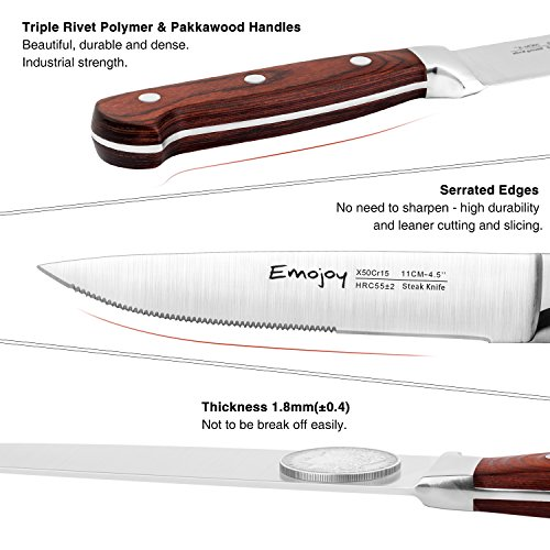 Steak knives, Emojoy Steak knife set, Stainless Steel Steak Knives Serrated, German Stainless Steel with Highly Resistant and Durable Pakkawood Handle (Steak Knives Set of 8) by Emojoy (Image #2)'