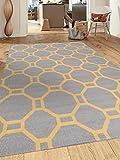 Contemporary Geometric Non-Slip (Non-Skid) Area Rug 5 X 7 (5′ 3″ X 7′ 3″) Gray-Yellow For Sale