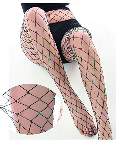 LILYKING Color Beads Fishnet Stocking Charming Pantyhose for Women and girls, Rhinestone Socks Elastic Tights ()
