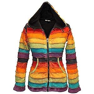 Shopopolic Fashion - Chaqueta de forro polar para mujer, diseño de arcoíris, hippie | DeHippies.com