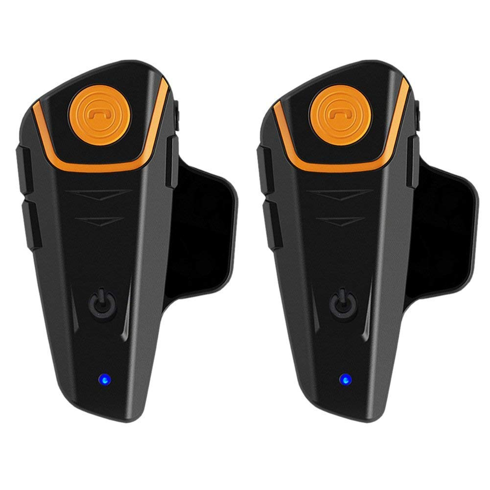 Bluetooth Headset for Motorcycle Helmet, BT-S2 Waterproof Motorbike Intercom up to 3 Riders 1000M Wireless Communication Interphone Supports FM Radio GPS Voice Command Music Hands Free(2 Pack)