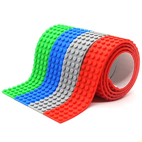 LattoGe Block Tape 2 Rolls for Kids Lego Figures Table Toys Self-Adhesive Baseplate Plates Walls Desks Christmas Birthday Supplies Room Art Decoration (Wide Size(Red+Blue+Green+Grey)) (Decoration Organization Christmas)