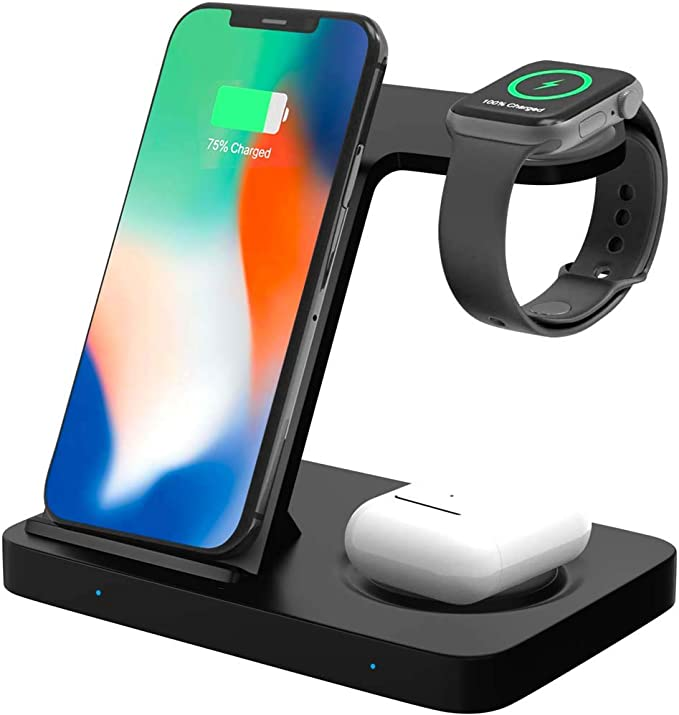 Qi Wireless Charging Stand – 5 in 1 Wireless Charging Stand – Charging Stand for Phone, Airpods and Apple Watch – Charger Stand with Charging Cable – Wireless Charge Dock for All Qi Enabled Devices