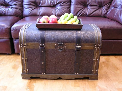 Large Antique Victorian Wood Trunk Wooden Treasure Hope Chest - Victorian Hope Chest